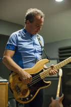 """Dave with """"The Bad Motherfucker"""", a custom bass made for him from Zeke Guitars."""